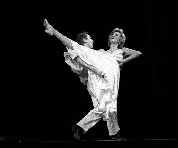 In 1985 Diana, who loved ballet, took to the stage to perform at dance to *Uptown Girl* with Wayne Sleep at the Royal Opera House.