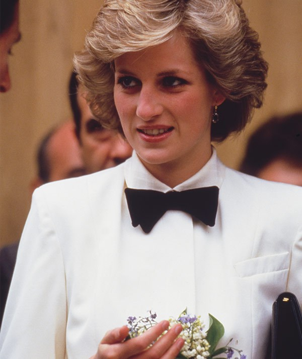 Diana was a vision in this tuxedo-inspired outfit during a visit to Florence in 1985.