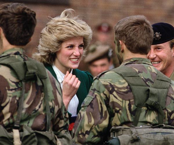 In October 1985, the Princess dropped by the Royal Hampshire Regiment, where she joked with one of the soldiers about his face camouflage.