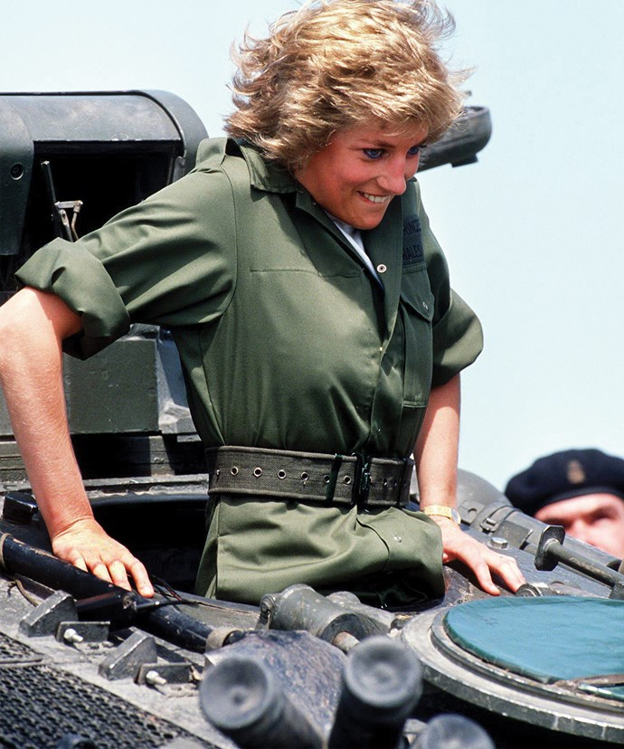 Three years later, Diana tried her hand at being a solider. Suiting up, the Princess climbs into a tank...