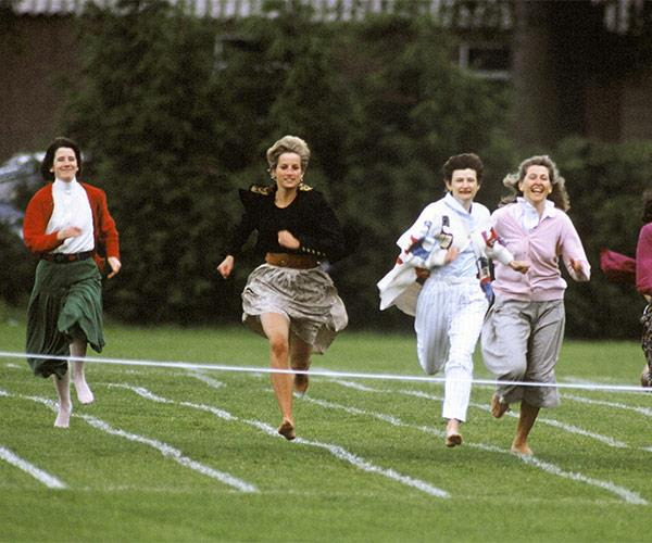 Diana may have been royal, but she still happily competed in her sons' mothers race for their school sports day in 1991.