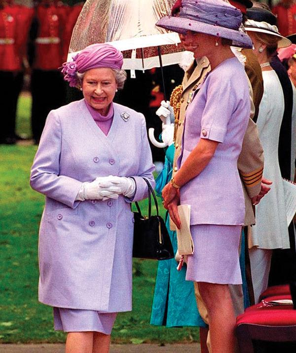 "Following Diana's passing, her Majesty shared, ""She was an exceptional and gifted human being. In good times and bad, she never lost her capacity to smile and laugh, nor to inspire others with her warmth and kindness."" The pair pictured in 1994 at Green Park."