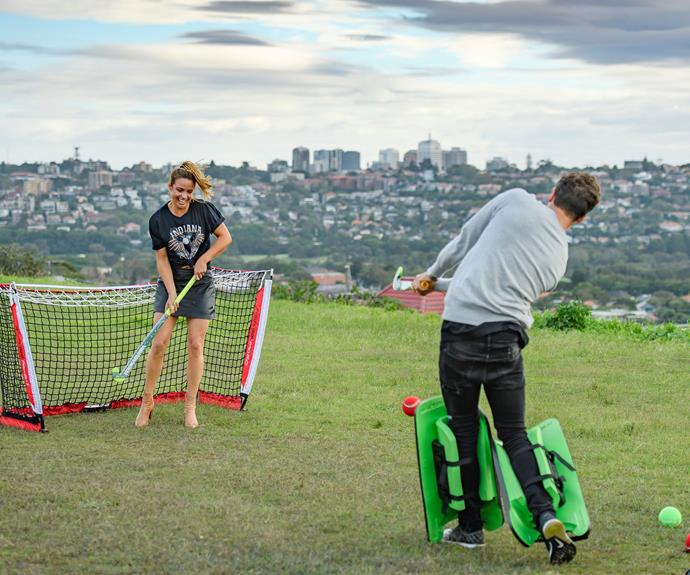 Elise and Matty played hockey together on a date.