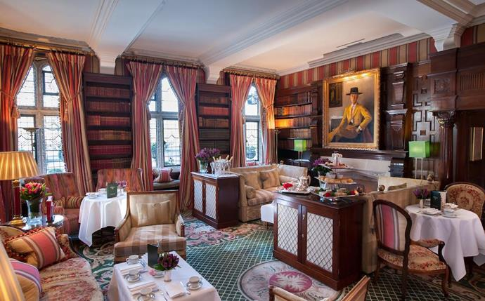 Now THIS is how you enjoy a spot of five-star afternoon tea in quintessentially British style...