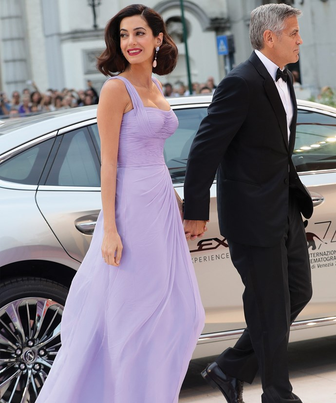 Amal, 39, donned a lilac Atelier Versace creation.