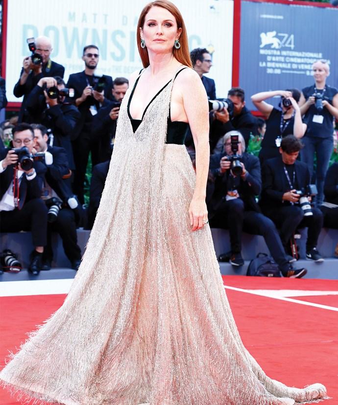 Julianne Moore sparkles in Valentino.