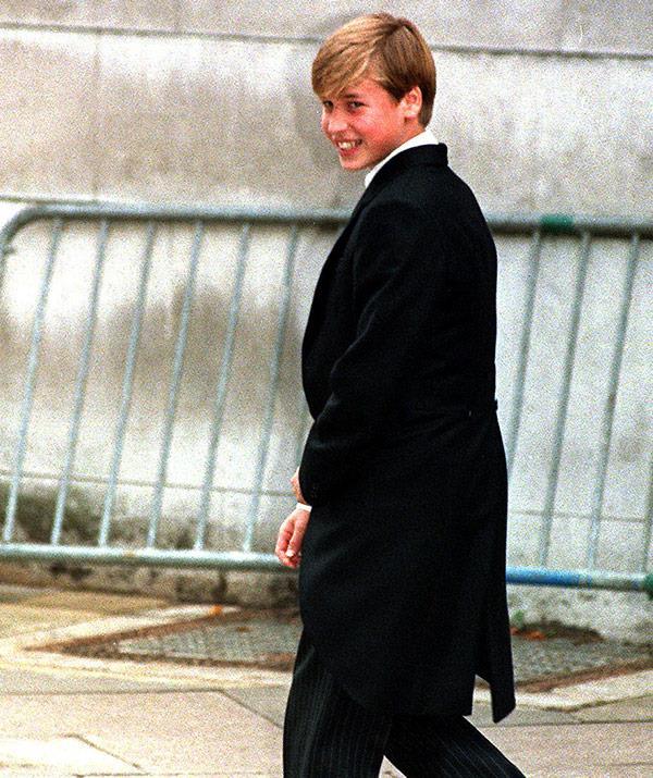 No, he's not off to a ball - that's his very posh uniform at Eton.