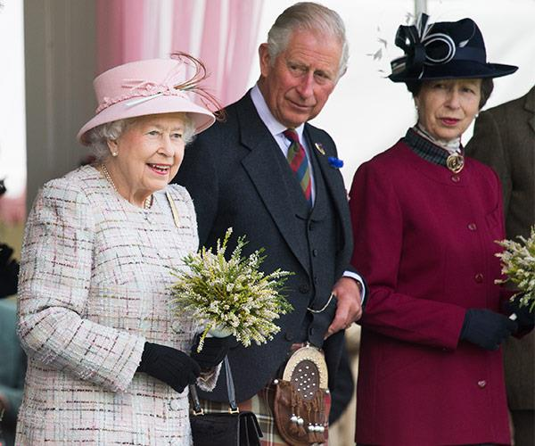 Her Majesty was joined by Charles and Anne.