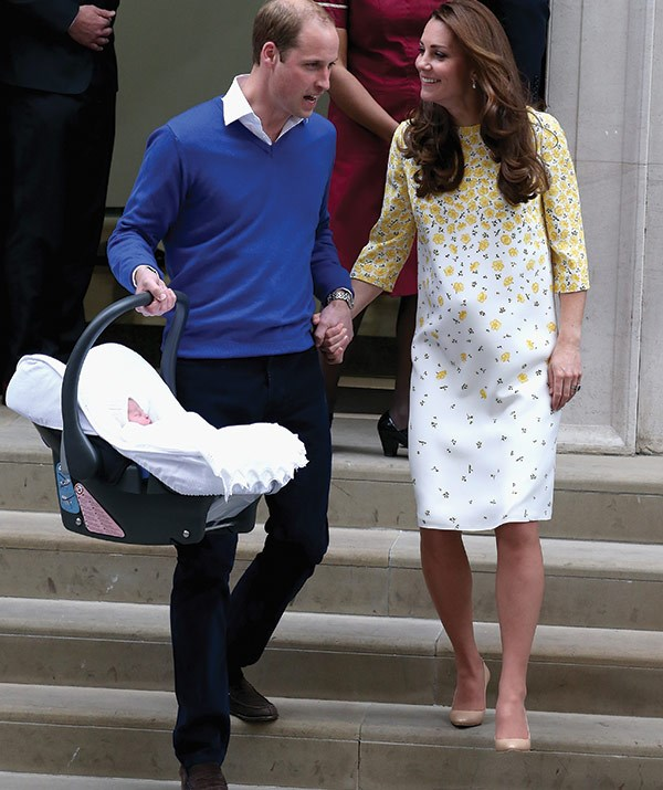 Like their new ray of sunshine, Princess Charlotte, the new mum glowed in this pretty yellow shift dress.