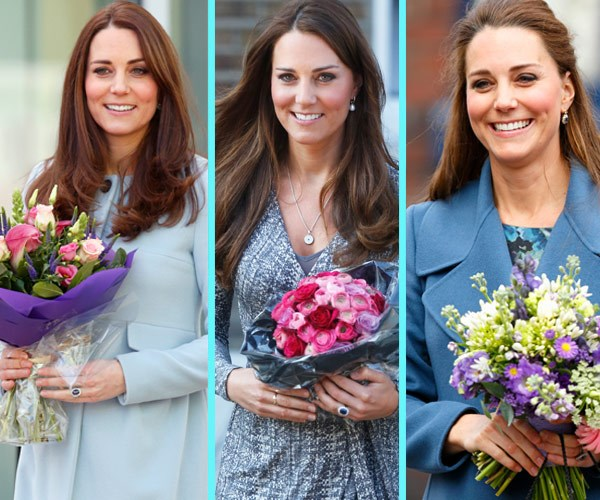 Petals for days: Kate [L & R] was pregnant with Charlotte, and in the middle with George.
