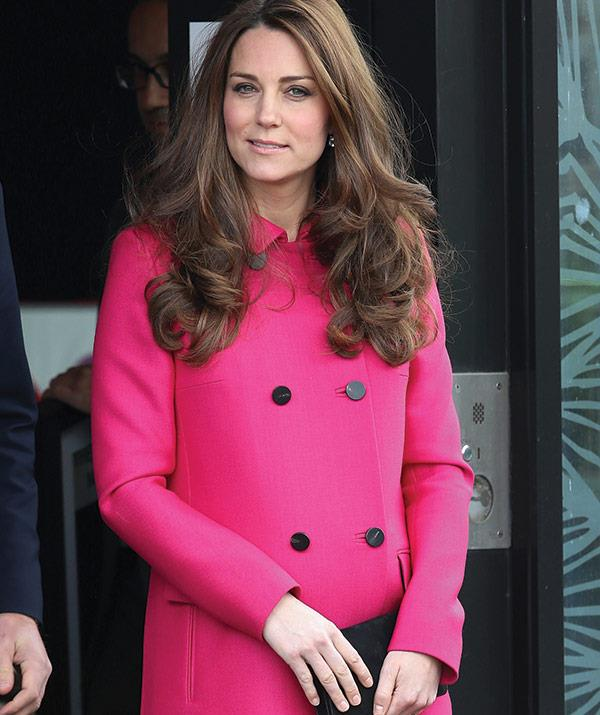 **THE STATEMENT COAT.** The duchess has worn this pink Alexander McQueen coat numerous times while out on royal duties and every time it turns heads.