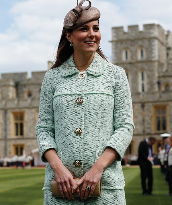 The mint hues worn in this coat looks perfect against the Windsor Castle backdrop - snapped on April 21, 2013.