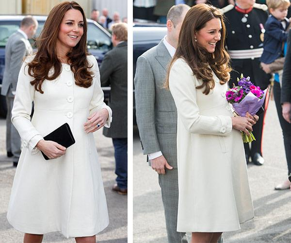 We're huge fans of her cream Jojo Maman Bebe coat, worn during a visit to the Downton Abbey set back in March 2015.