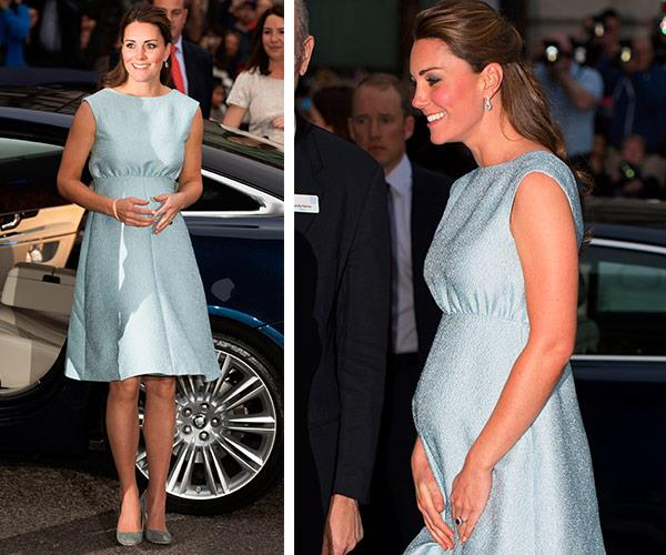 A baby blue clue? Catherine wows in an Emilia Wickstead cocktail dress at the National Portrait Gallery back in 2013.