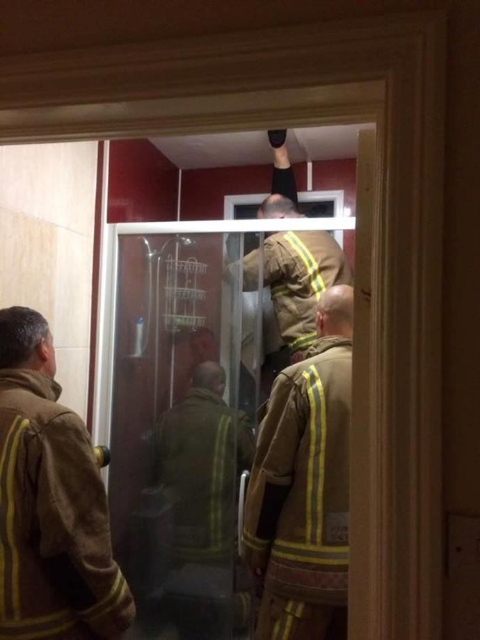 The local firies had to break the glass to free Mr Smyth's date, costing him the equivalent of around $400 to replace.