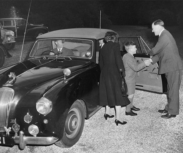 Prince Charles gets the royal send off on his first day at Cheam in 1957.