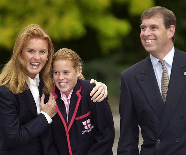 Proud parents Sarah and Andrew of York drop of Beatrice to St George's in 2000.