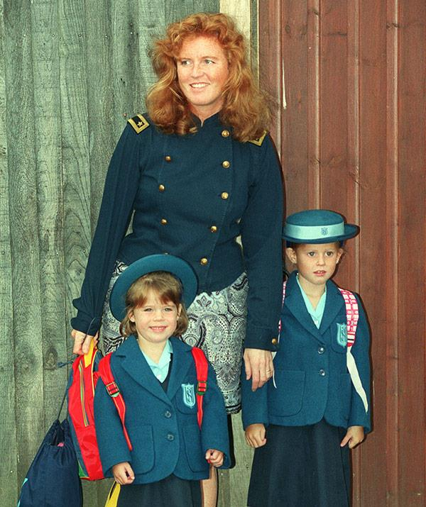 Eugenie had Bea to show her the ropes on her first day of school in 1992.