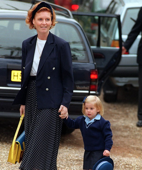 Sarah the Duchess of York drops Princess Beatrice off to school in 1991.