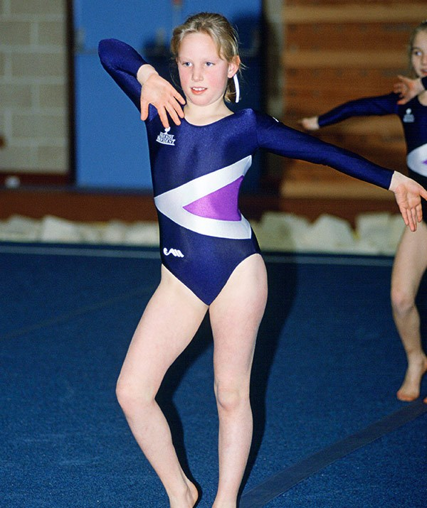 Zara shows off her gymnastic moves at Port Regis school in 1991.