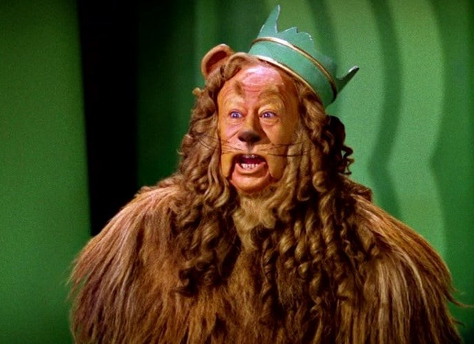 The Cowardly Lion's costume was made of a real lion skin, which made it incredibly hot for actor Bert Lahr to wear. It was also HEAVY--it weighed nearly 100 pounds!