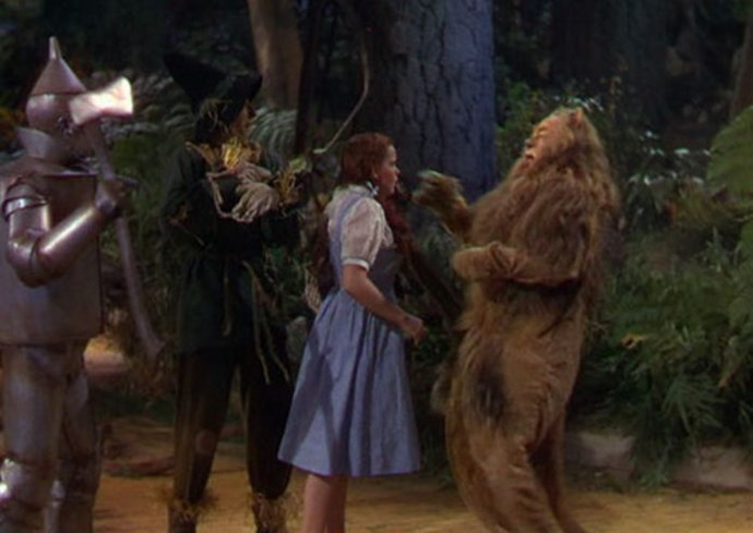 While filming the scene when Dorothy slaps the Lion, Garland couldn't stop giggling--so director Victor Fleming took her aside and slapped HER, after which she nailed the scene in one take.
