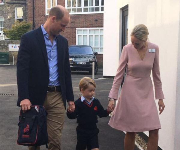 George was joined by Prince William and Helen Haslem, who is head of the lower school.