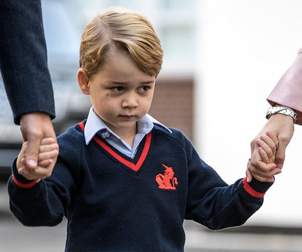 The young royal was too anxious to crack a smile for waiting paparazzi.
