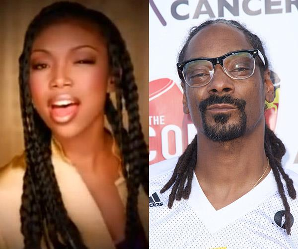 **Brandy Norwood and Snoop Dogg**  The musical pair are cousins.
