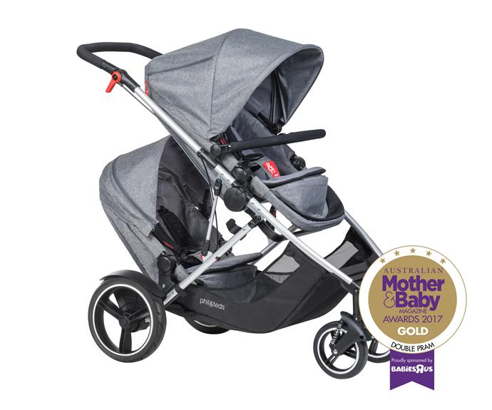 """The [Phil & Ted's Voyager Buggy](https://philandteds.com/au/Products/push/voyager#.WbXl_LKg-Uk target=""""_blank"""" rel=""""nofollow""""), from $999, is adaptable and versatile with four seating modes, a sunhood with convenient storage pockets, a large storage basket with 10kg capacity and a revolutionary stand fold with two seats one. Suitable up to 5 years."""