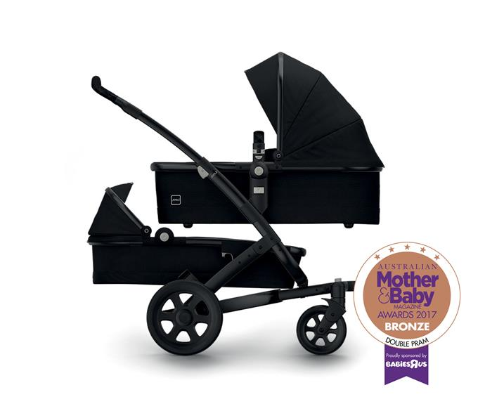"""The [Joolz Geo Earth Pram Duo](https://www.babybunting.com.au/joolz-geo-earth-pram-duo.html target=""""_blank"""" rel=""""nofollow""""), $2270. Features include multiple combinations suitable for two babies or newborn and toddler."""