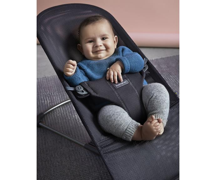 The baby bouncer is available in two soft materials: quick-drying mesh (pictured) or comfy, quilted cotton.