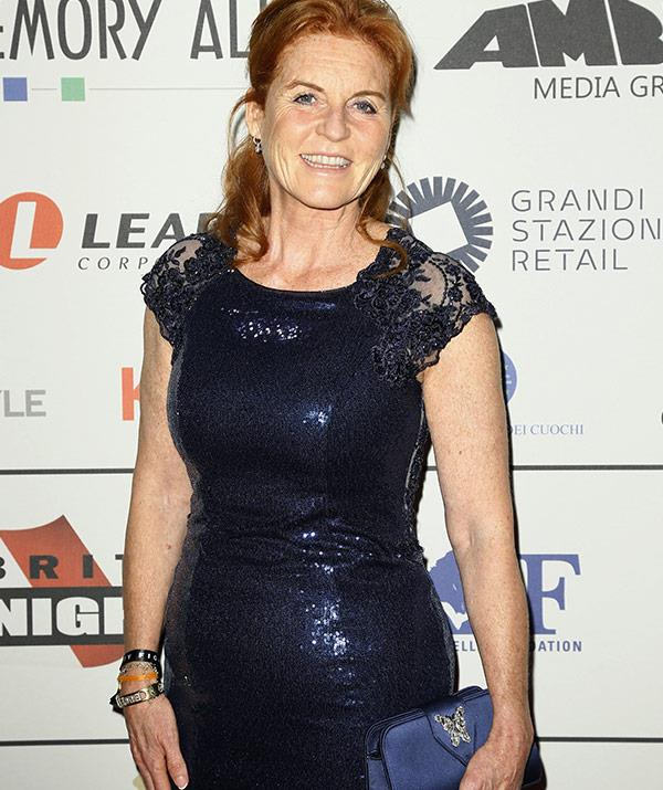 The 57-year-old looked stunning in a floor-length navy sequinned frock.