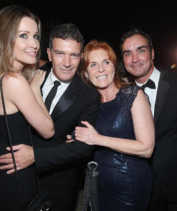 With their famous pals Antonio Banderas and his girlfriend Nicole Kimpel.