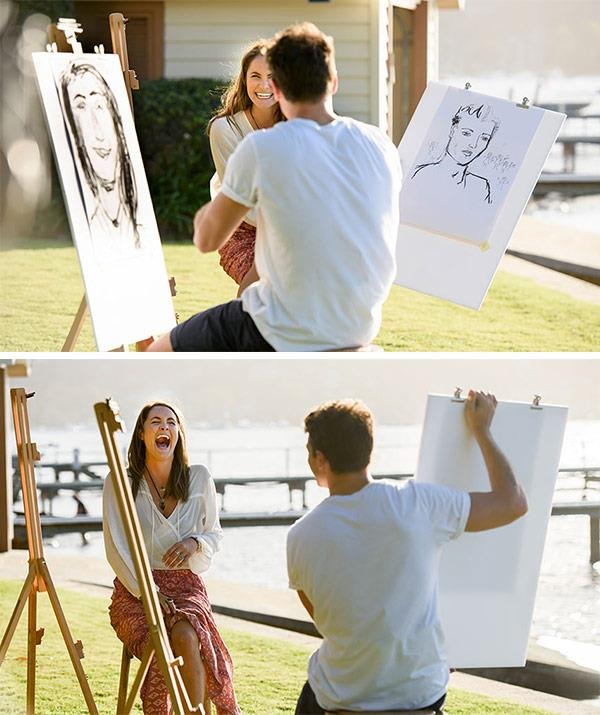 Their first date sketching each other was full of laughs. *(Image: Network Ten)*