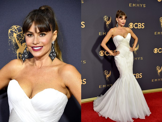 **Sofia Vergara** opted for an updo and parted fringe, adding extra glam to her look with a mulberry lip.