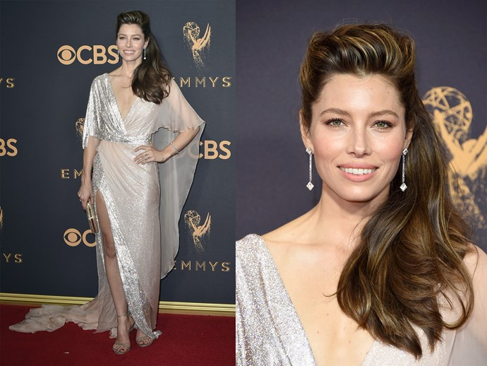 **Jessica Biel** made a serious case for hair highlights. The brunette beauty's locks were swept back off her face, revealing rich gold highlights.