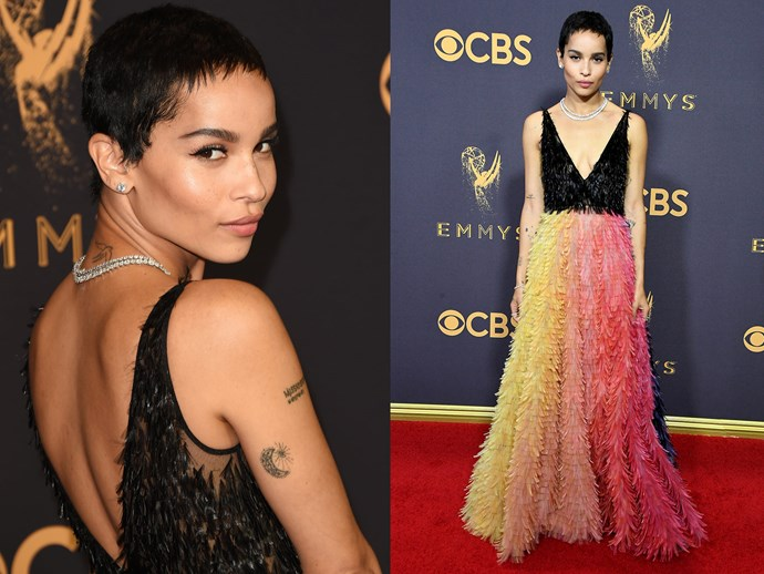 **Big Little Lies** star **Zoe Kravitz** debuted a new too-cute pixie cut on the red carpet.