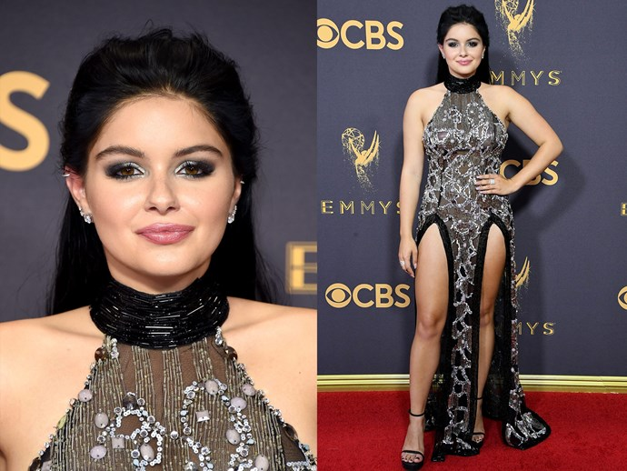 **Ariel Winter**'s dramatic, metallic eye and sweet berry lip is giving us all the beauty inspo we need for a night out.