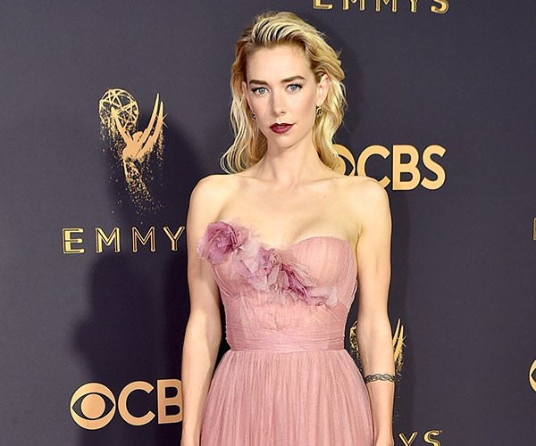 """**The Crown**'s **Vanessa Kirby** channelled """"English Rose"""" and came out on top. A messy, *almost* greasy, re-growth baring hairstyle lends the perfect amount of grunge-glam to her pretty look."""