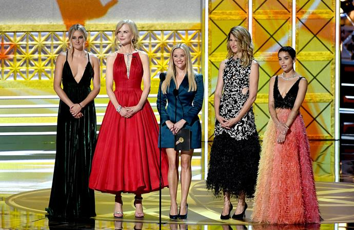 The stellar cast of *Big Little Lies* (L-R): Shailene Woodley, Nicole Kidman, Reese Witherspoon, Laura Dern and Zoe Kravitz.