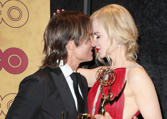 "Keith and Nicole embracing each other following Nicole's big [**Emmy Awards**](http://www.nowtolove.com.au/fashion/red-carpet/emmy-awards-2017-41029|target=""_blank"") win for her role as Celeste in [***Big Little Lies***](http://www.nowtolove.com.au/health/spirituality/big-little-lies-more-than-emmys-2017-41062