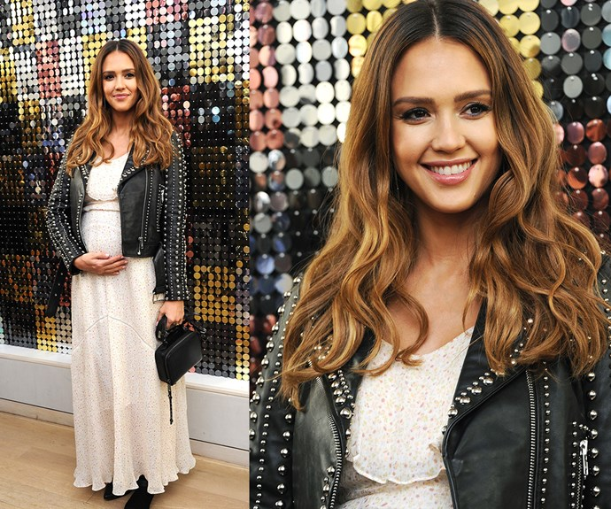 Jessica Alba's warm, honey hues make this mum-to-be's eyes and smile shine even brighter.