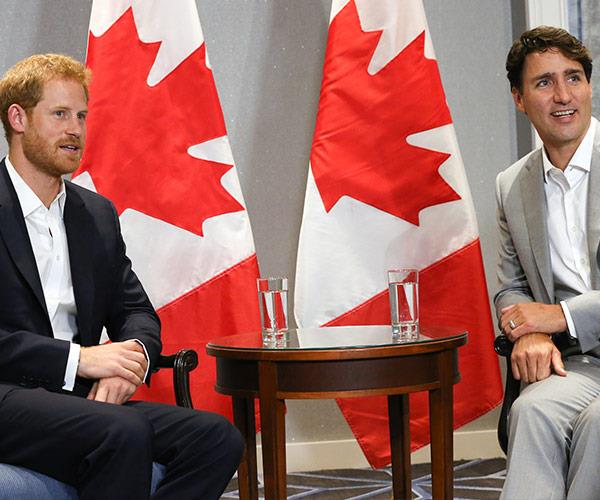 Harry meets with Canadian Prime Minister Justin Trudeau.