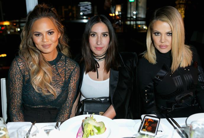 Jen sandwiched between two of her tressed-to-impress clients, Chrissy Teigen and Khloe Kardashian.