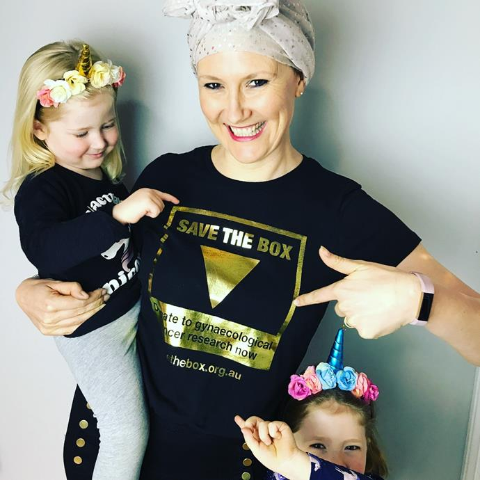 Caitlin and her girls supporting Save The Box.