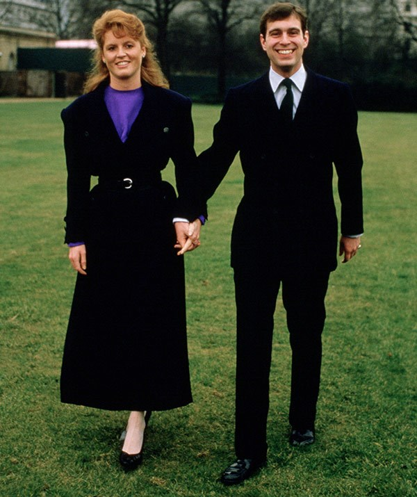 Prince Andrew with Sarah Ferguson after their engagement announcement at Buckingham Palace on March 17, 1986.