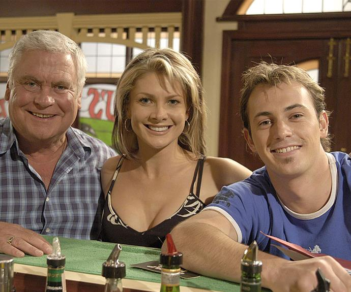 Blair (right) with his *Neighbours* co-stars Tom Oliver and Natalie Bassingthwaighte in 2003.