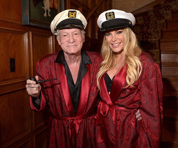 Hugh Hefner and Crystal Hefner attend Playboy Mansion's 2014 Halloween Bash.
