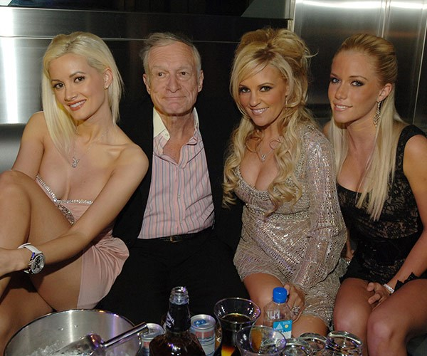 Throughout his the five decades of life in the Playboy mansion, Hugh was known for him open relationships - the most famous being the original cast of *Girls Next Door*: Holly Madison, Bridget Marquardt and Kendra Wilkinson.